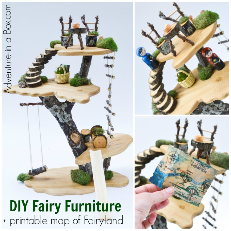 If you have a fairy house, make fairy dollhouse furniture! Built from natural materials and with simple tools, it's a fun project for older kids and adults.