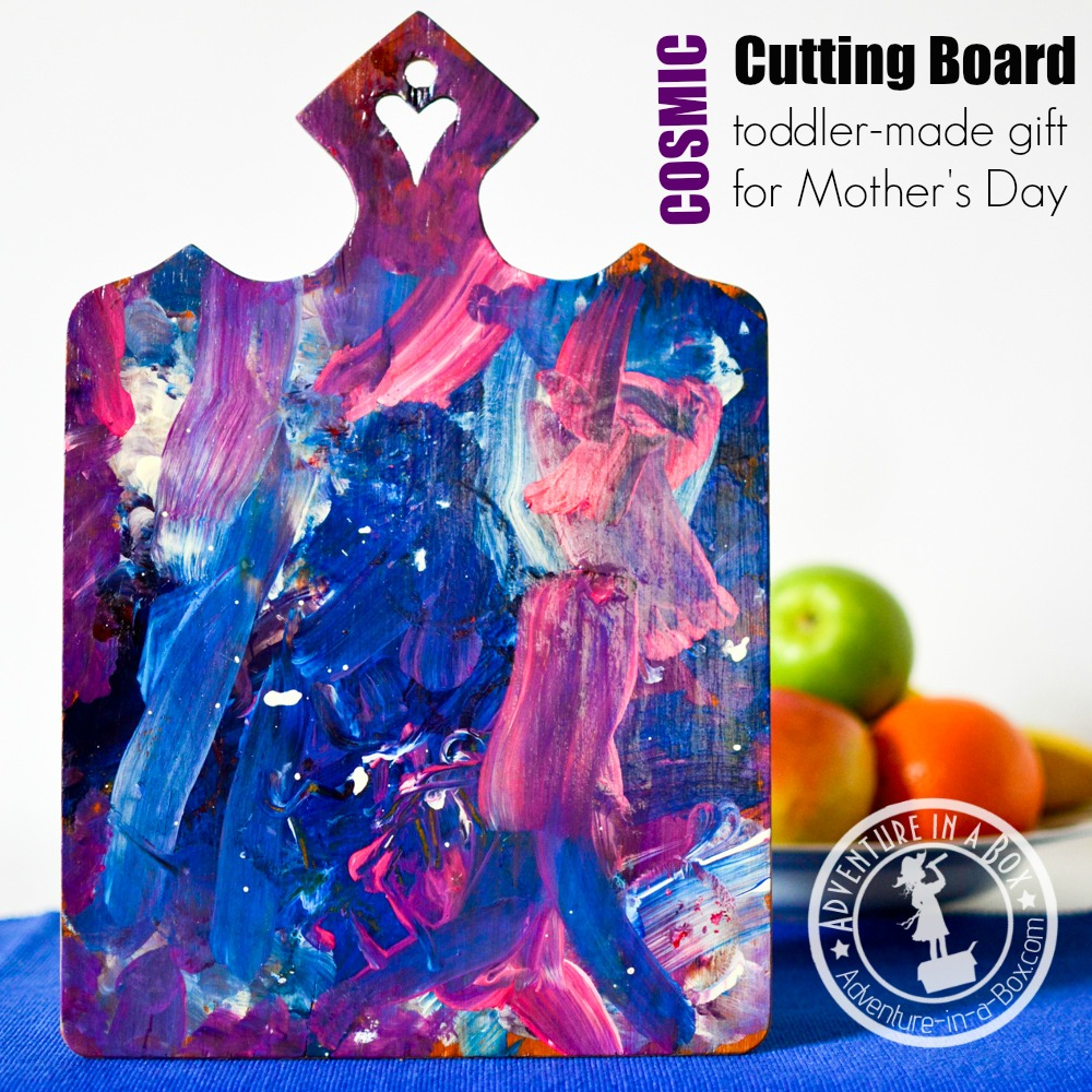 Painting cutting boards with kids is fun. If it turns out, you got yourself an element of kitchen decor; if not, you can still cut on it! Great kid-made gift for Mother's Day.