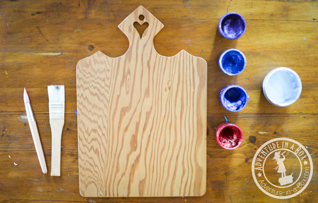 Painting cutting boards with kids: materials you'll need.