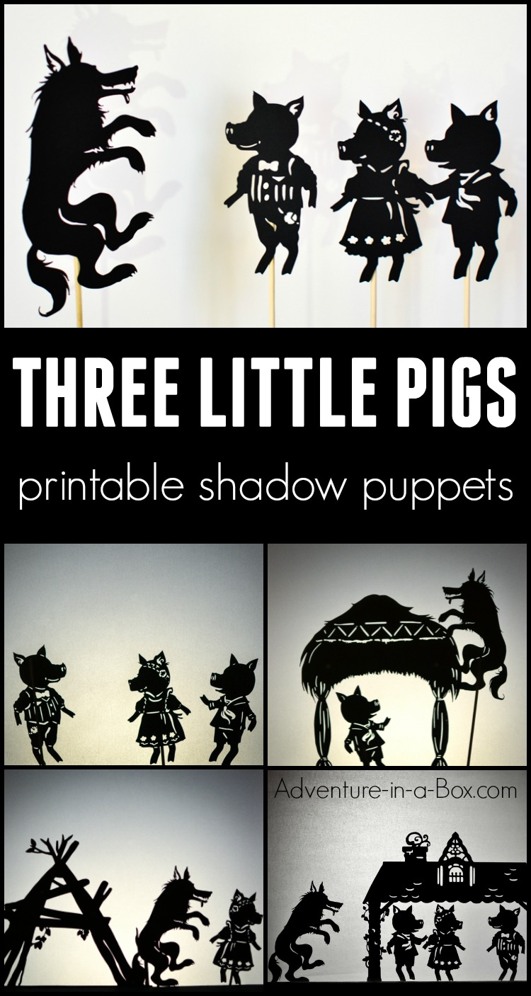 Based on the famous fairy-tale, these printable shadow puppets will let your kids make their version of Three Little Pigs and stage a shadow play at home or in the classroom! #puppets #kidsactivities #preschool #printable