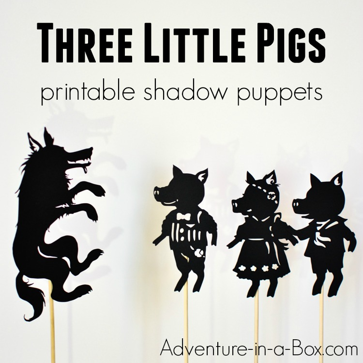 Based on the famous fairy-tale, these printable shadow puppets will let your kids make their version of Three Little Pigs and stage a shadow play at home or in the classroom!
