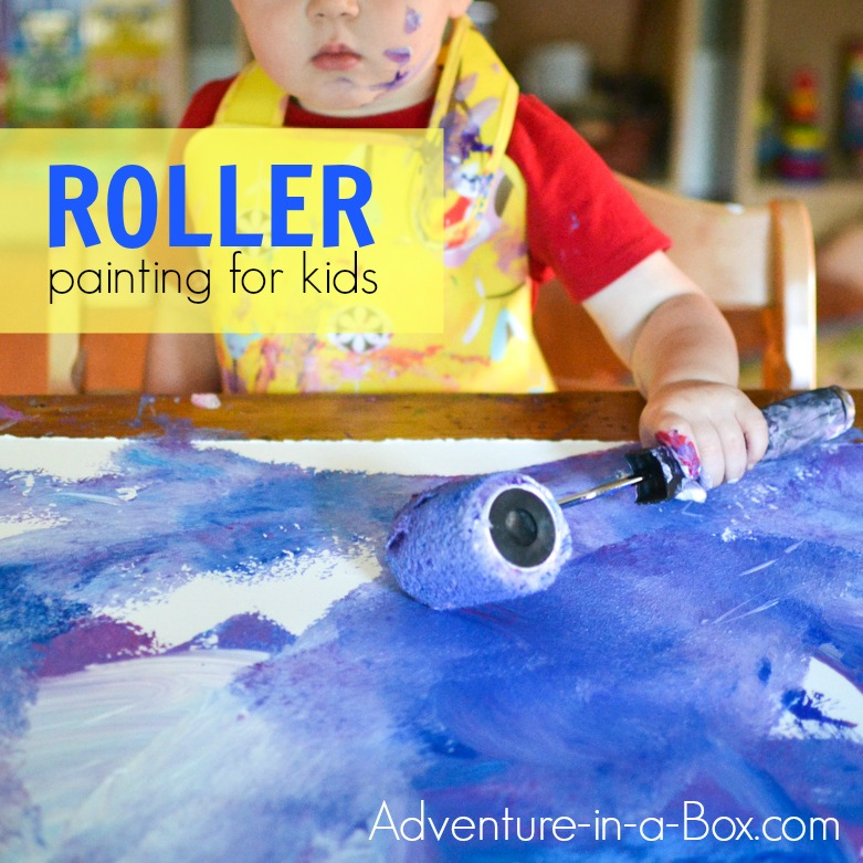 Let your kids paint a really big picture, using a roller! A fun process art activity for toddlers and older.