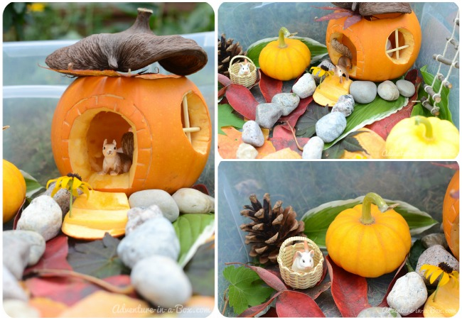 Little House in the Pumpkin: Autumn Craft & Sensory Bin