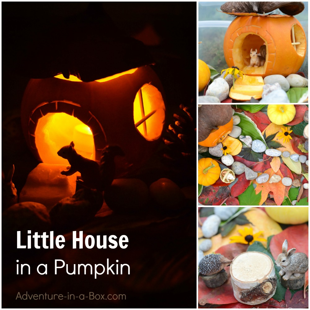 Carve a pumpkin to make a doll house for your kids and all of their toys to play with. A cute and simple autumn craft that can double as a sensory bin.