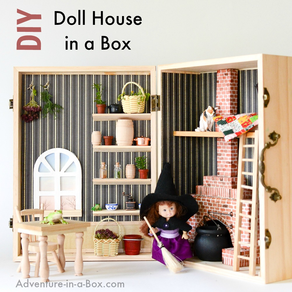 DIY Doll House in a Box: Turn a wooden box into a portable cozy house for a little doll. Easy and fun homemade toy project!