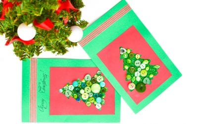 Christmas Tree Button Card that Toddlers Can Make