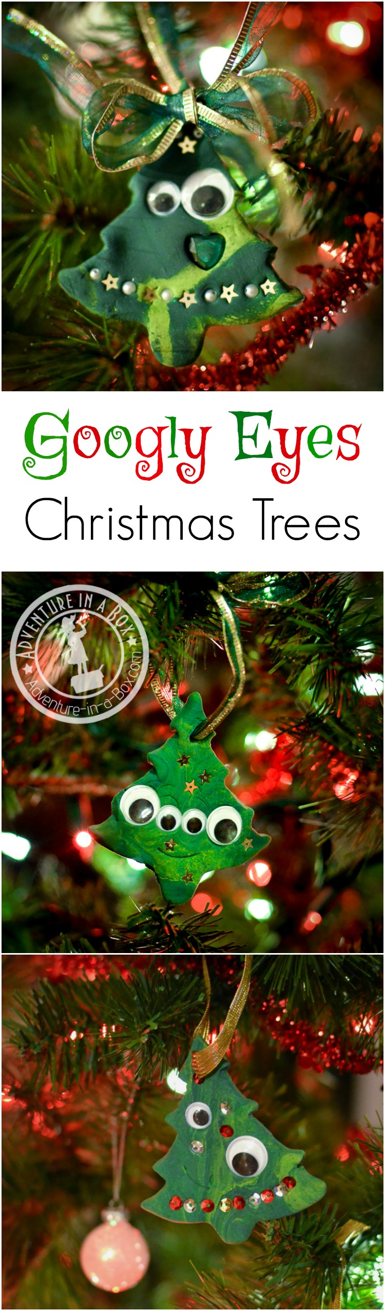Very simple Christmas tree ornaments with buttons and googly eyes that toddler can make.
