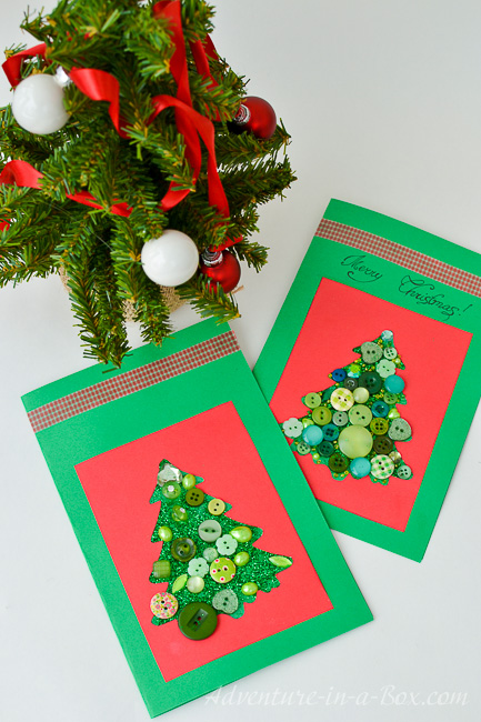 Making christmas cards with toddlers for Christmas card christmas tree craft