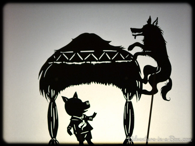 Three little pigs shadow puppet printables adventure in for Free shadow puppet templates