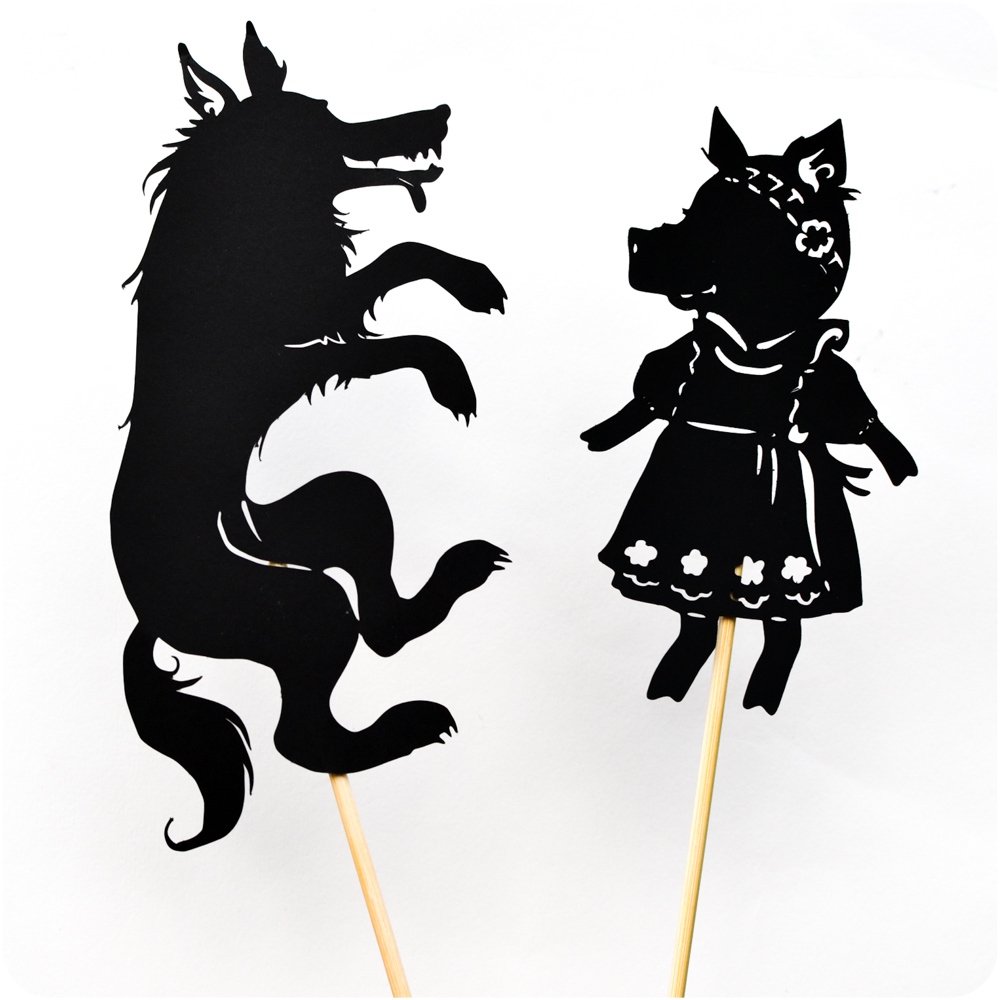 Three little pigs shadow puppet printables adventure in for The three little pigs puppet templates