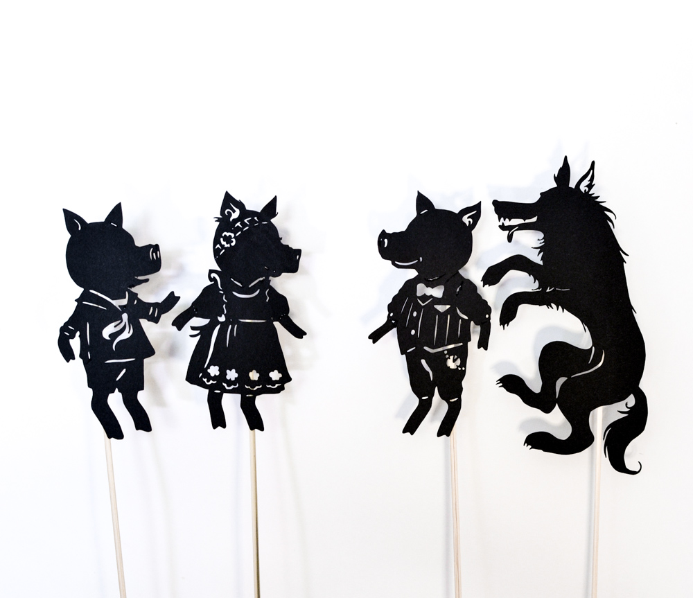 Three little pigs shadow puppet play with free printables for Free shadow puppet templates