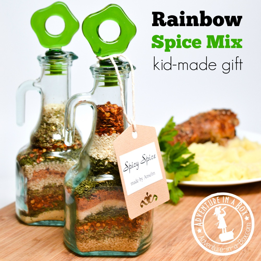 Rainbow Spice Mix: Even toddlers can make this gift while practising their pouring skills!