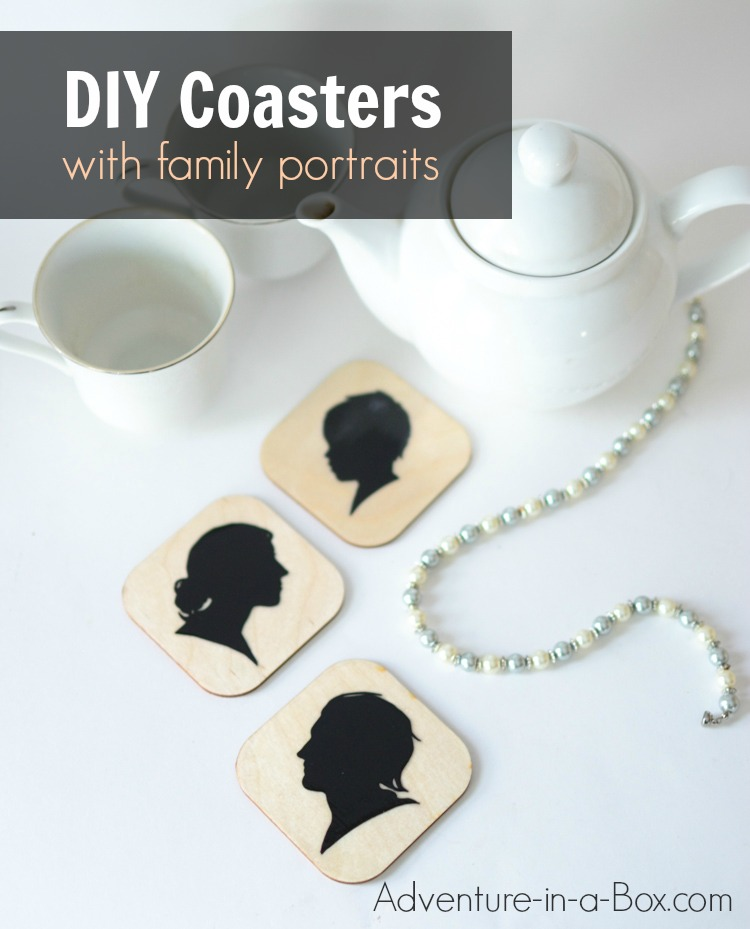 DIY Tutorial: How to decorate wooden coasters with silhouette portraits of your family members. An elegant and fun craft!