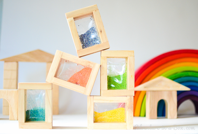 Rainbow Sand Blocks: This simple toy project is a perfect addition to Reggio Inspired and Waldorf playrooms!