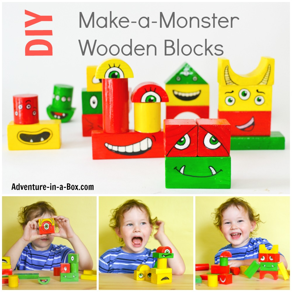 Turn old wooden blocks into make-a-monster blocks! Toddlers will laugh themselves silly playing with this homemade toy, and older kids will enjoy painting monsters. Good for Halloween and all year round!