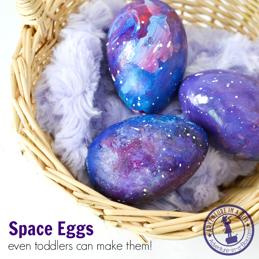 Take your Easter egg craft to a new level and create little space eggs. Kids will love painting these! Two of our space eggs were made by my two-year-old toddler.