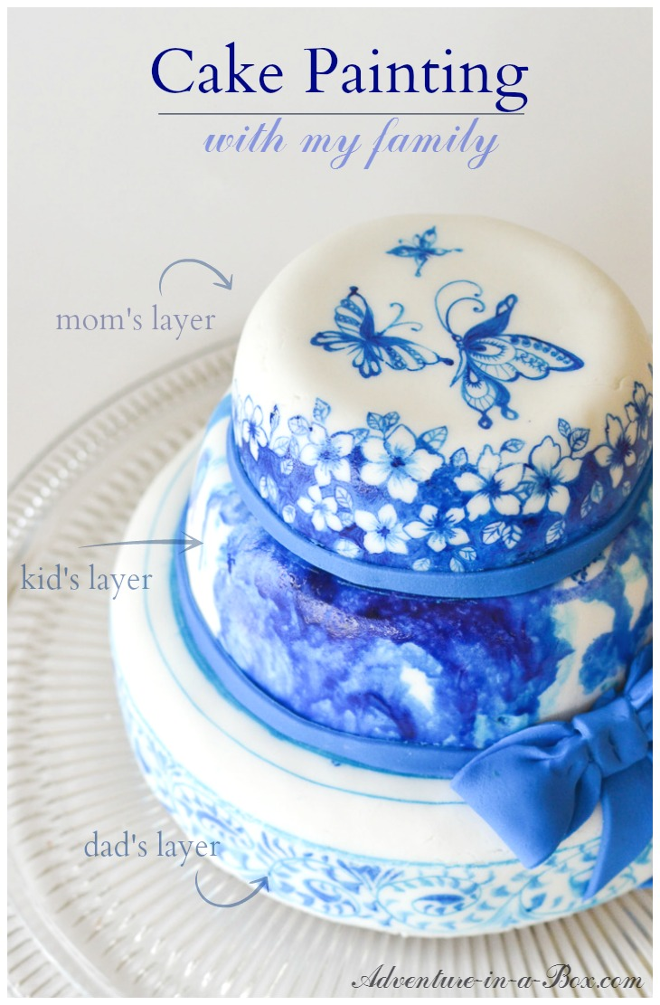 Paint on cakes: a messy and delicious idea for a family fun night! If you like doing art projects and crafting with kids, this is a winner.