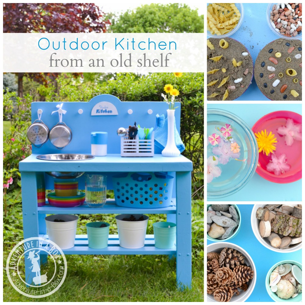 DIY Outdoor Play Kitchen from an Old Shelf: It's a very simple DIY project, and kids will love it in the summer!