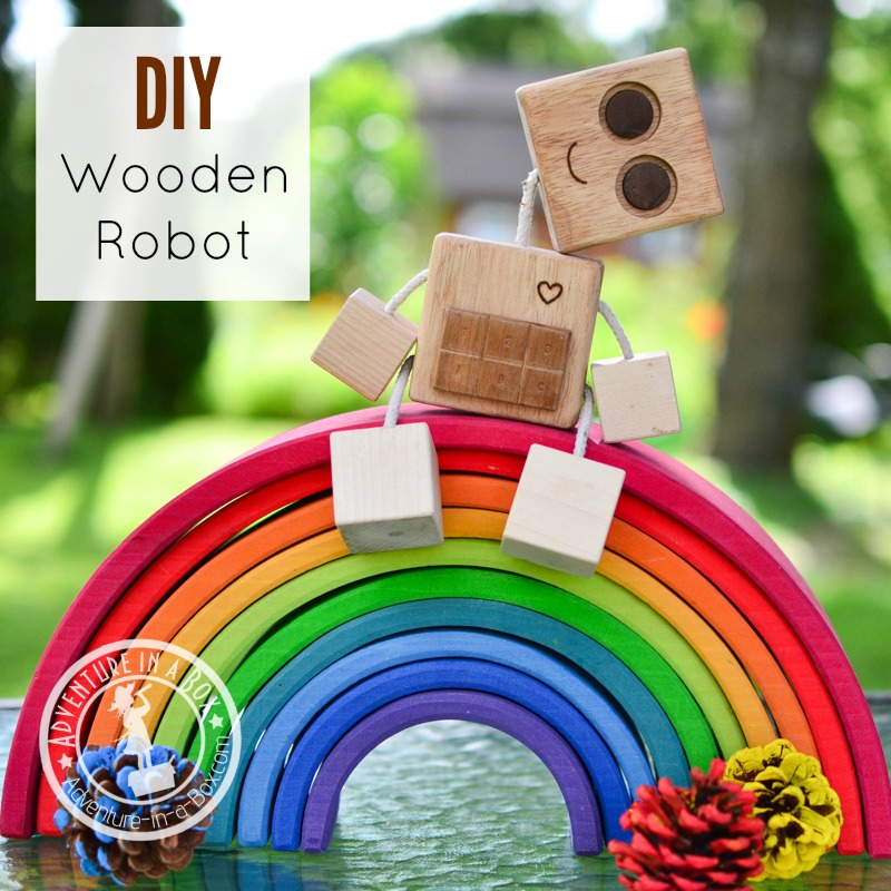 DIY Wooden Robot Buddy: If you want to make a simple wooden toy with a minimum of tools or are looking for the first woodworking lesson for older kids, try building this homemade robot!