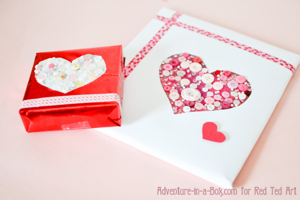 Button Heart Gift Wrap for Valentine's Day