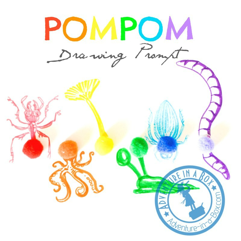 Rainbow Pompom Drawing Prompt for Kids: colourful invitation to create art and exercise imagination