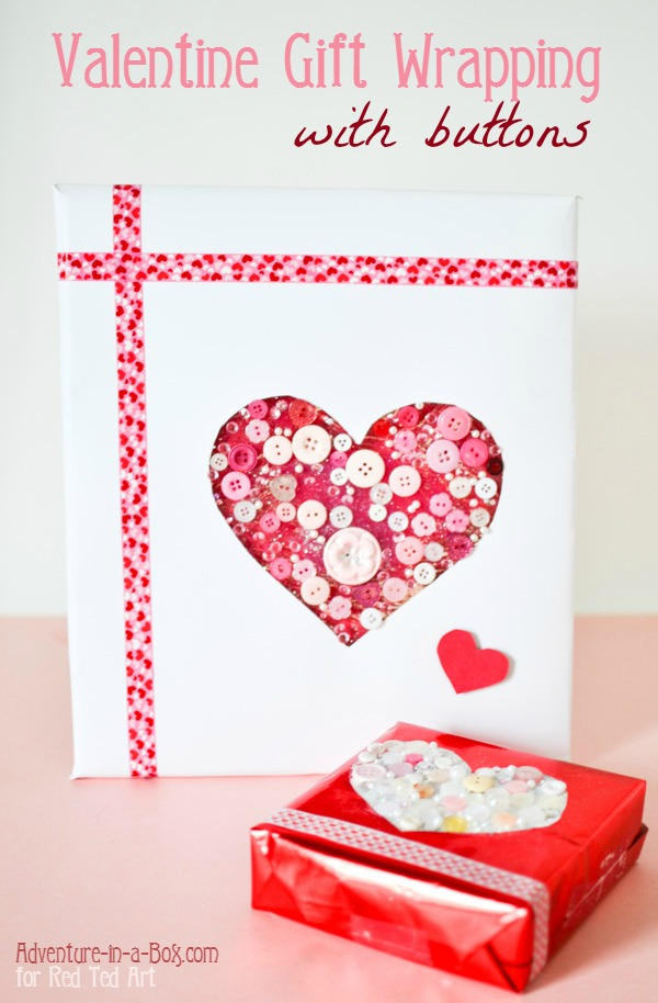 Button Heart Gift Wrap for Valentine Day: a simple and quick Valentine craft for kids that grandmas will treasure forever