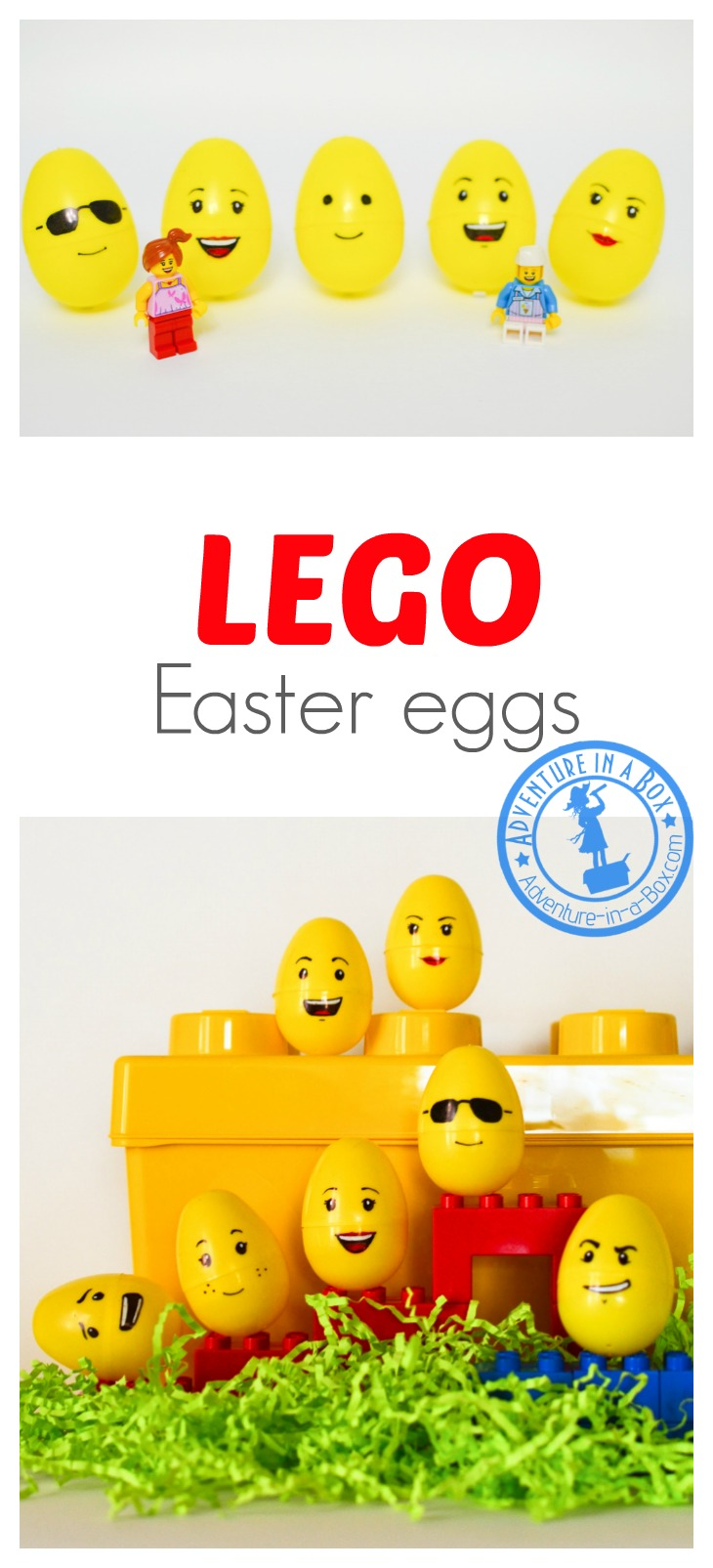 Lego Easter Egg Craft: an Easter transformation of plastic eggs that adults and kids can enjoy!
