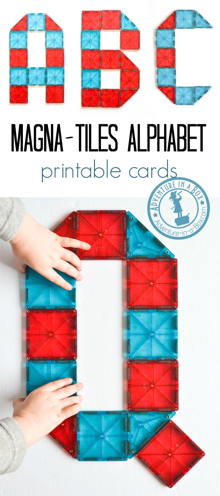 A great addition to your literacy corner, these printable Magna Tile idea cards encourage kids to make lowercase letters from Magna-Tiles, Picasso Tiles, and other magnetic tiles. #homeschool #preschool #kindergarten #magnatiles #printable #literacy