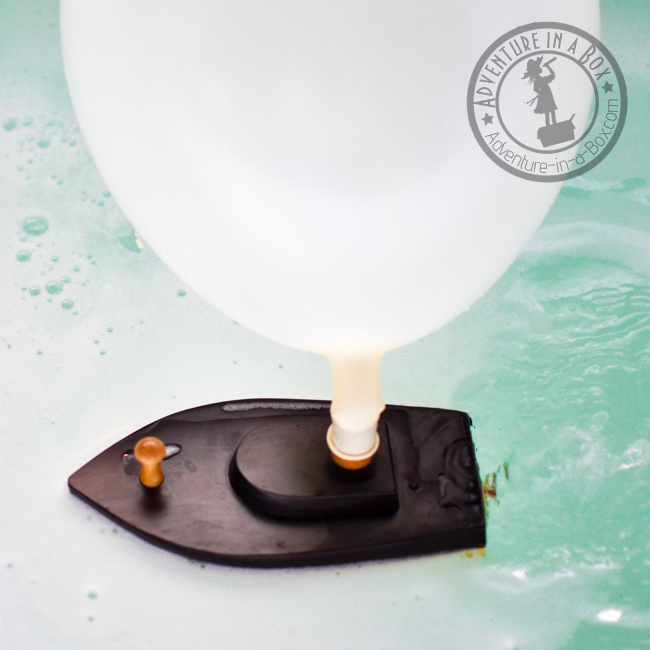 DIY Balloon-Powered Wooden Boats: Testing this toy boat out in the bathtub!