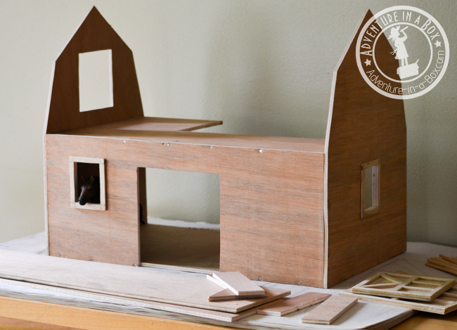 Handmade Toy Wooden Barn: under construction shot