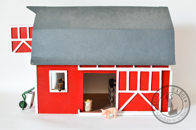 Handmade Toy Wooden Barn: putting the trim on and painting the barn