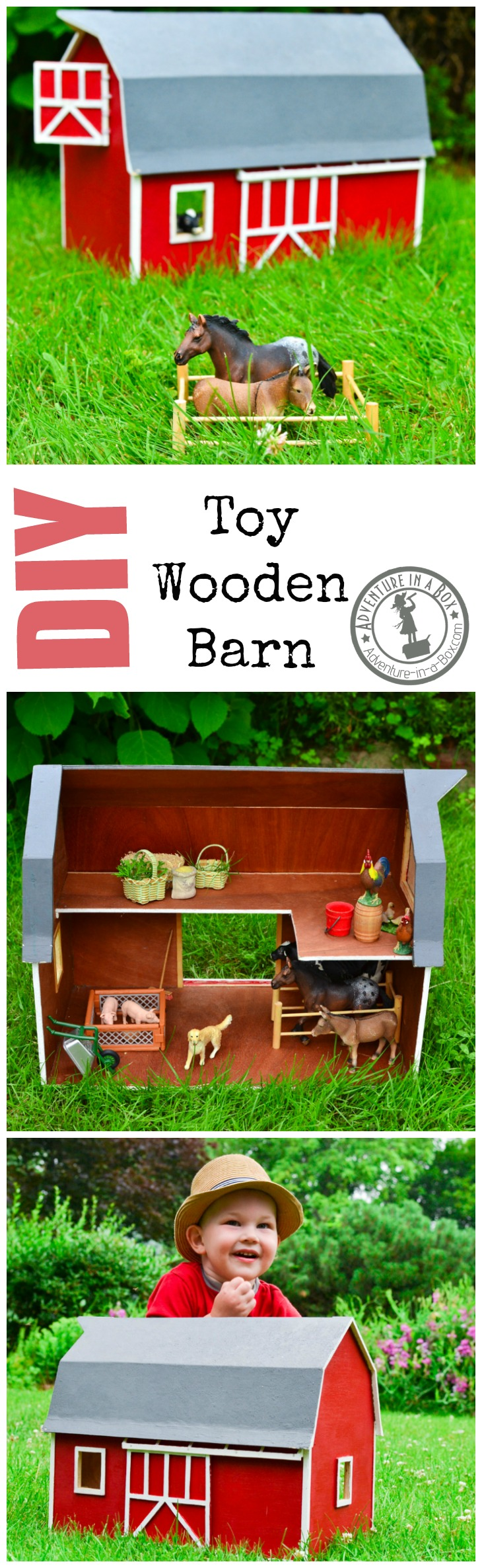 Handmade Toy Wooden Barn: a DIY project that has the potential to become a family heirloom, but will keep your kid's animals under control in the meantime.
