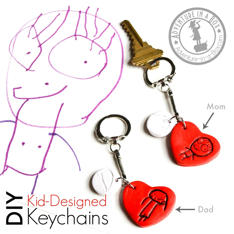 DIY Kid-Designed Keychains: Make personalized keychains with family portraits from your kid's drawings. A fun and simple idea for a Mother's Day handmade gift!