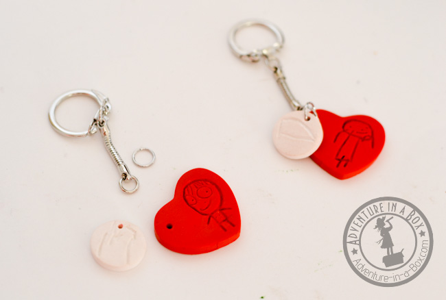 DIY Kid-Designed Keychains: assembling the keychains.