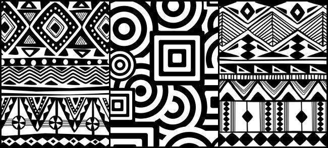 Abstract black and white patterns