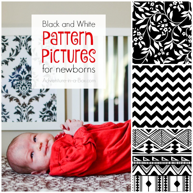 Black and white pattern pictures for stimulating babies' vision: Download free printable pictures for decorating your nursery!