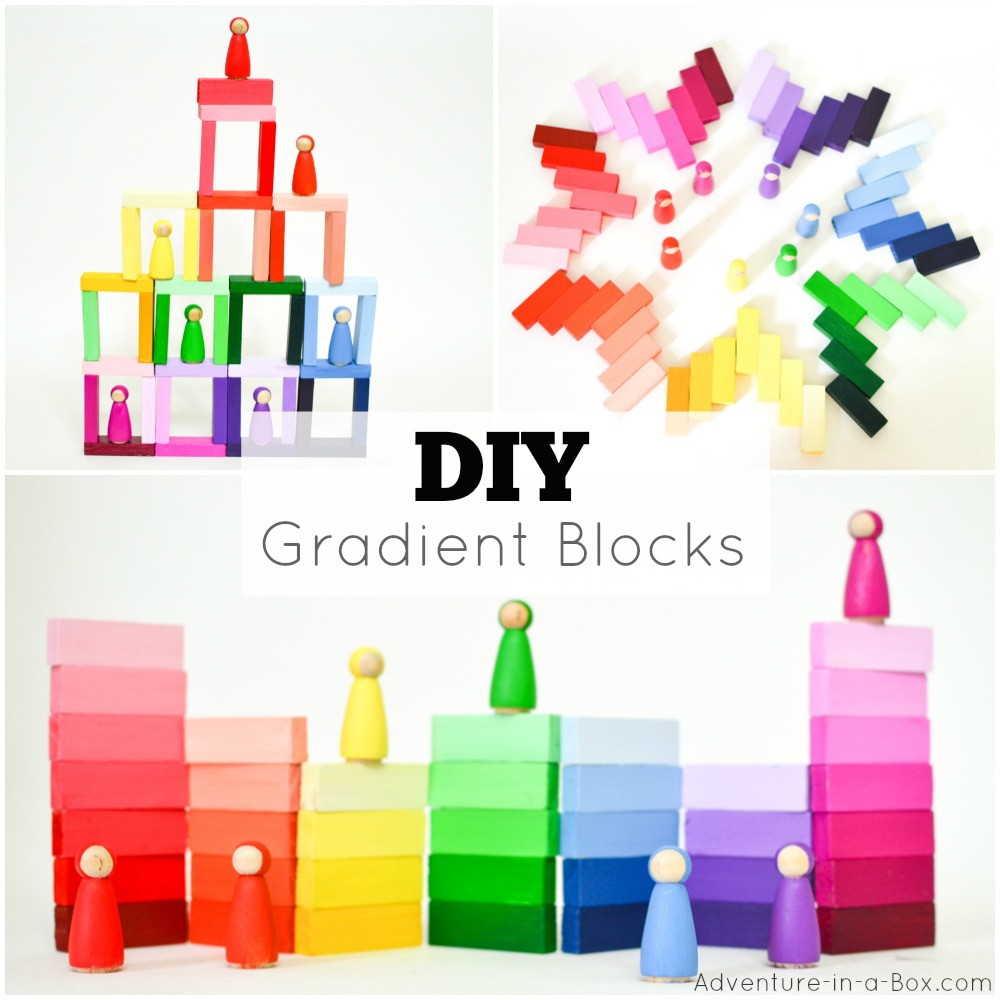 DIY Handmade Wooden Gradient Blocks: Inspired by the Montessori colour tablets, these colourful blocks are very cheap to make and fun for kids to play with!