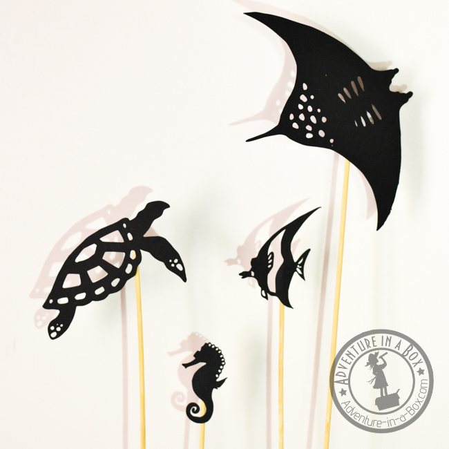 Ocean life shadow puppet set: Print and cut your own set of ocean life shadow puppets! Great for studying coral reefs with kids, sea-themed room decor or Finding Nemo or Finding Dory party ideas.