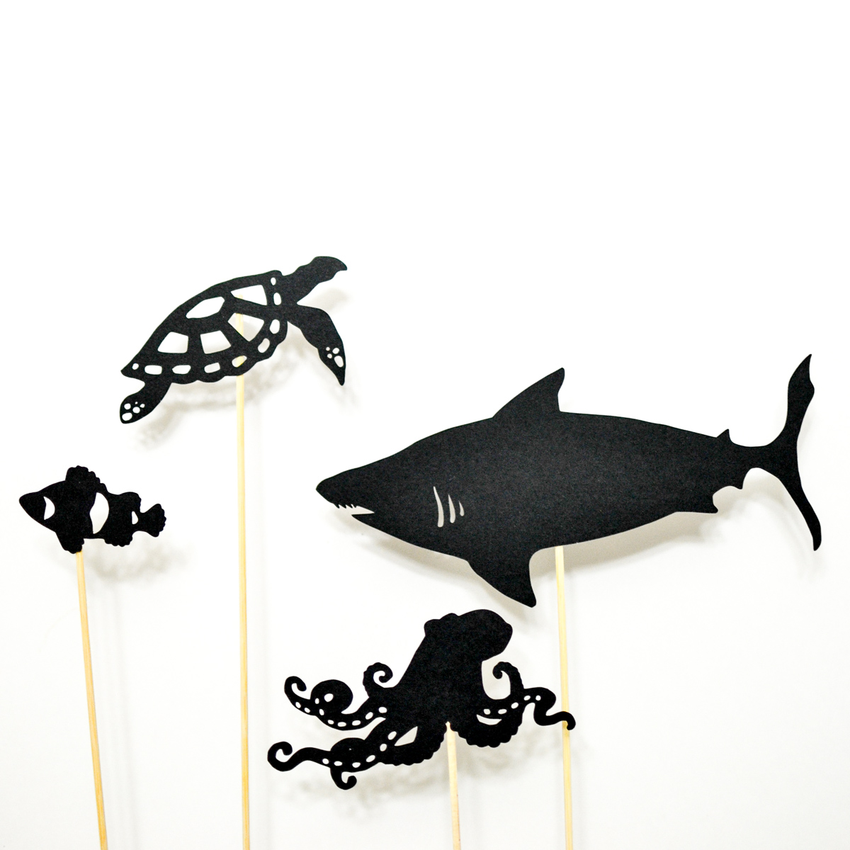Ocean life shadow puppet printables adventure in a box for Free shadow puppet templates