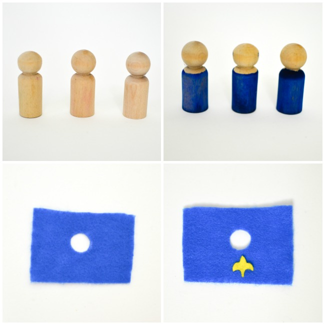 DIY Wooden Peg Doll Knights, Kings and Queens: Step 1
