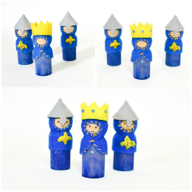 DIY Wooden Peg Doll Knights, Kings and Queens: Step 3