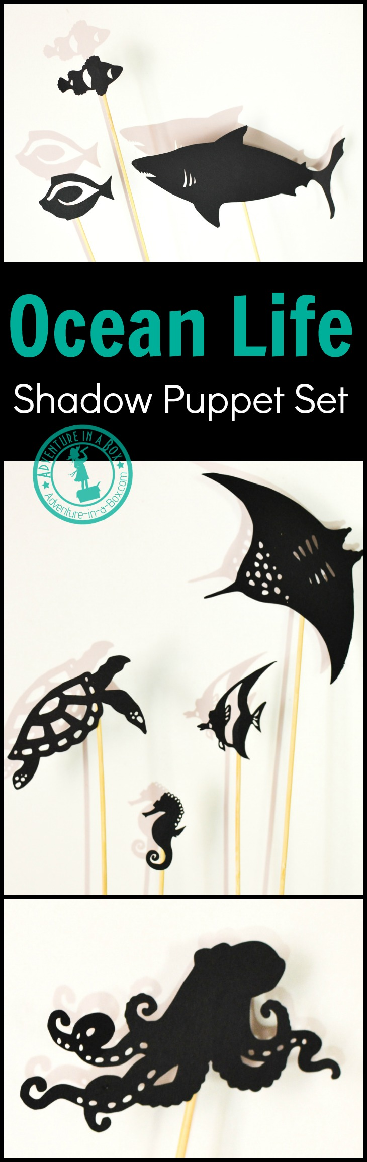 Print and cut your own set of ocean life shadow puppets! Great for studying coral reefs with kids, as well as Finding Nemo or Finding Dory party ideas. #homeschool #preschool #kidscrafts