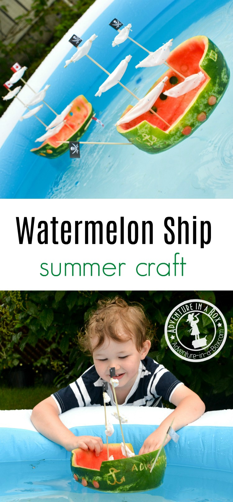 For a quick summer craft with kids, make watermelon ships and have a glorious sea battle in the backyard!