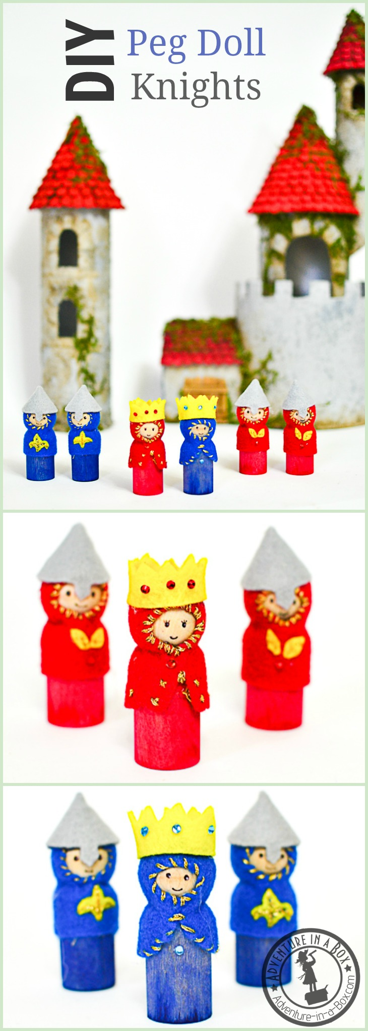 DIY Wooden Peg Doll Knights, Kings and Queens: When kids are going through a castle stage or studying medieval history, this tutorial will help them create their own army of knights out of wooden peg dolls. Armourer's approved!