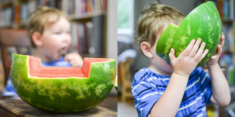 Make a watermelon ship: step 1