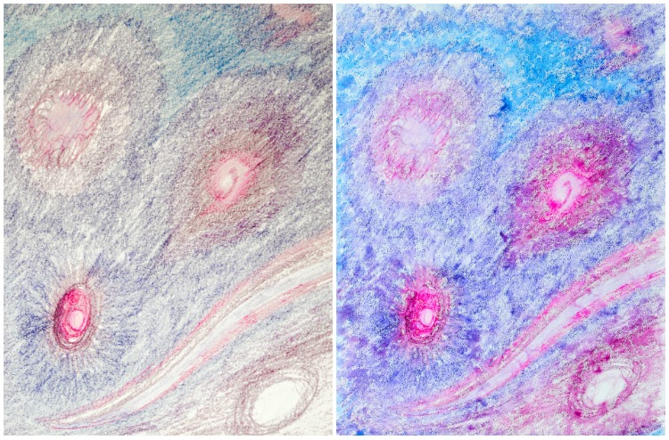 Watercolour Pencils Rain Art with Kids: Cosmos.