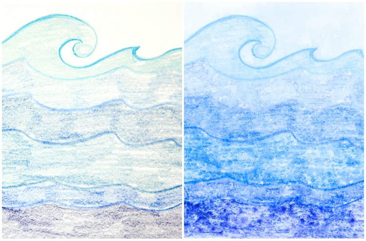 Watercolour Pencils Rain Art with Kids: Ocean.