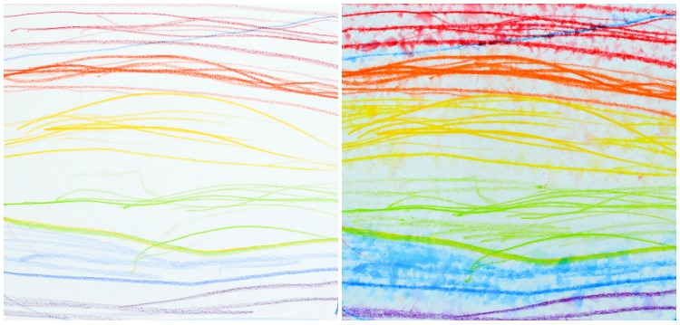 Watercolour Pencils Rain Art with Kids: Rainbow.