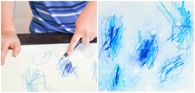 Watercolour Pencils Rain Art with Kids: Raindrops.