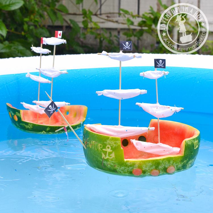For a summer craft with kids, make watermelon ships and have a glorious sea battle!